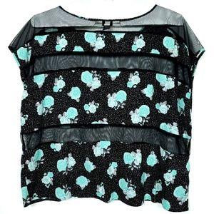 Torrid 5X Black Top Shirt Mesh Striped Blue Rose
